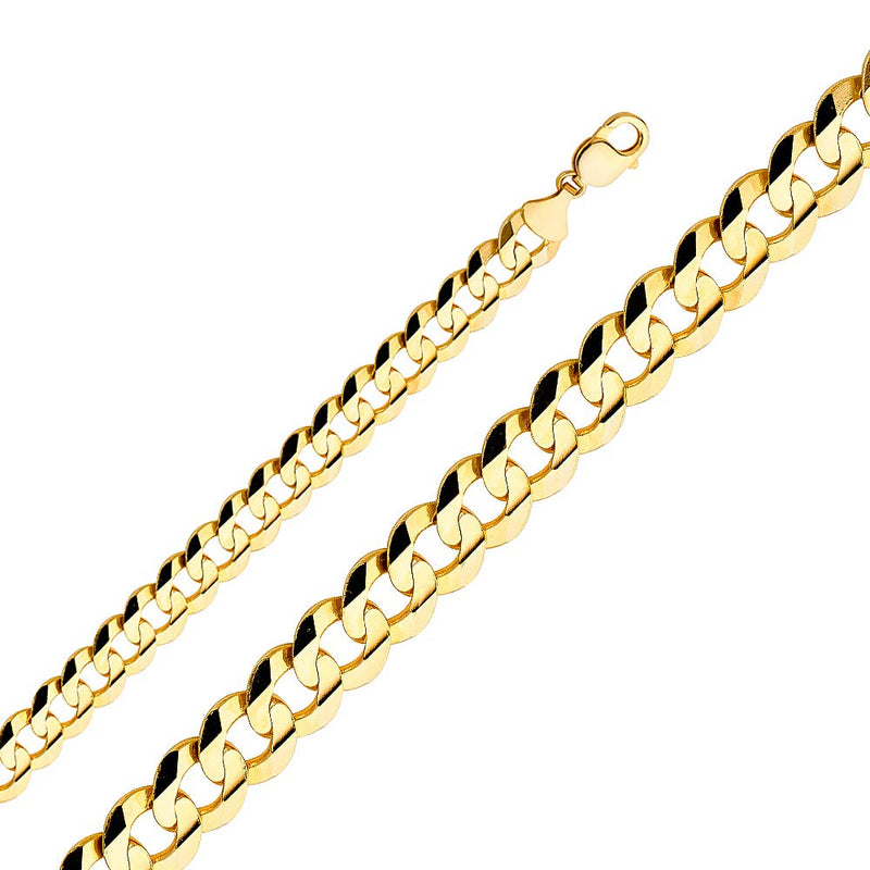 CERTIFIED Wellingsale 14k Yellow Gold SOLID 12mm Polished Cuban Concaved Curb Chain Necklace