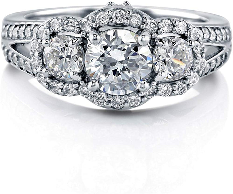 1.74 CTW Sterling Silver Cubic Zirconia CZ 3-Stone Engagement Split Shank Ring