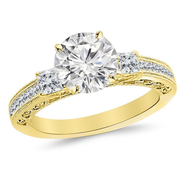 1 Carat 14K White Gold Past Present Future 3 Stone Princess Cut Channel Set GIA Certified Round Cut Diamond Engagement Ring (0.46 Ct D Color VS2 Clarity Center Stone)