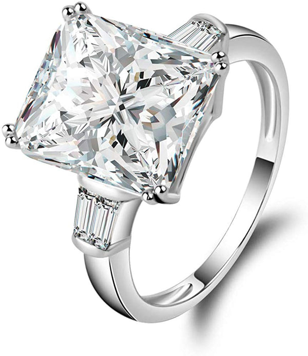 CERTIFIED 5 Carats Baguette 3 Stone CZ Cubic Zirconia Engagement Rings 925 Sterling Silver