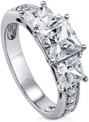 CERTIFIED 3.25 CTW Sterling Silver Princess Cubic Zirconia CZ 3-Stone Promise Engagement Ring