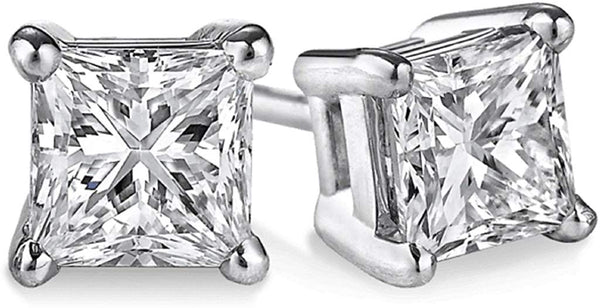 IGI Certified PARIKHS Princess Cut Diamond Stud Prime Quality in 14K White Gold (1.00 ctw, I1 clarity)