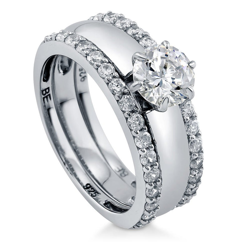 CERTIFIED  Rhodium Plated Sterling Silver Round Cubic Zirconia CZ Solitaire Engagement Wedding Ring Set 1.57 CTW