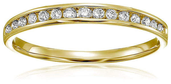 CERTIFIED 1/5 cttw Classic Diamond Wedding Band in 10K Gold Channel Set