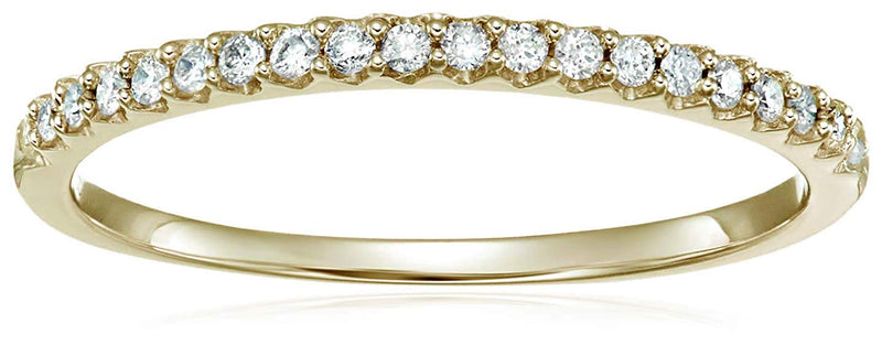 CERTIFIED 1/6 cttw Micropave Diamond Wedding Band in 10K Gold Prong Set