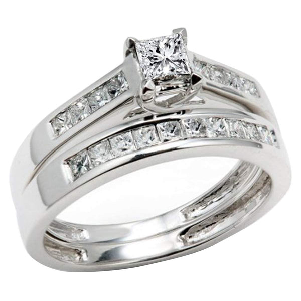 CERTIFIED   0.50 Carat (ctw) 14k Princess Diamond Ladies Bridal Ring Engagement Set 1/2 CT, White Gold