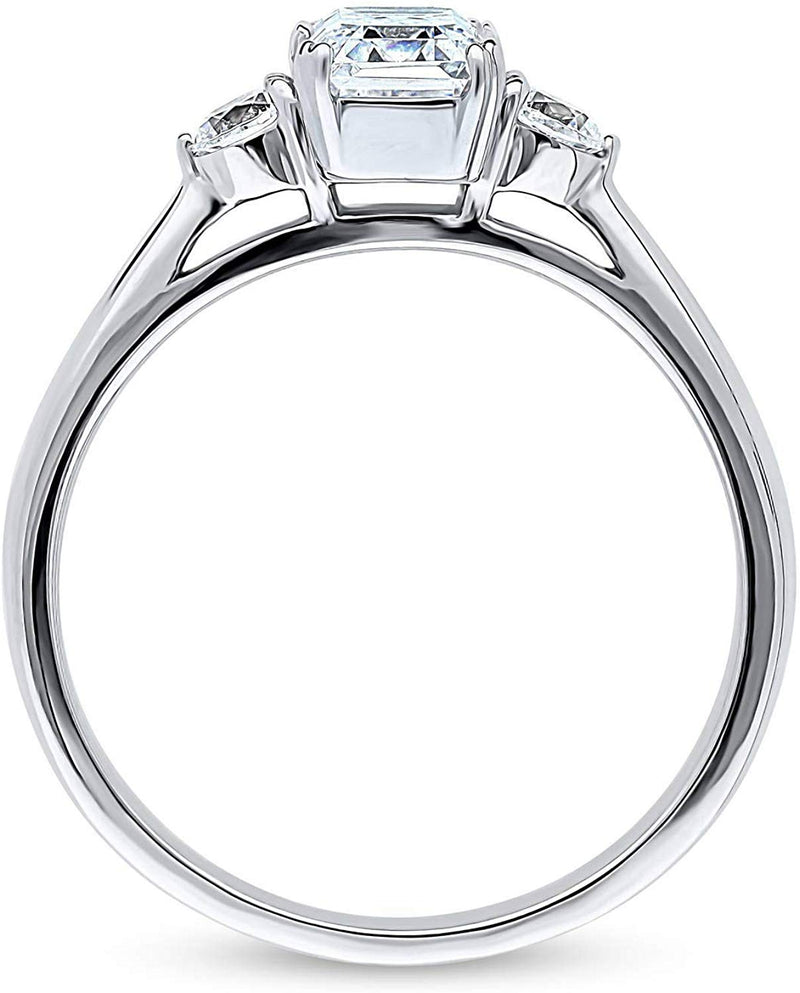 CERTIFIED 1.22 CTW Sterling Silver 3-Stone Anniversary Promise Engagement Swarovski Zirconia