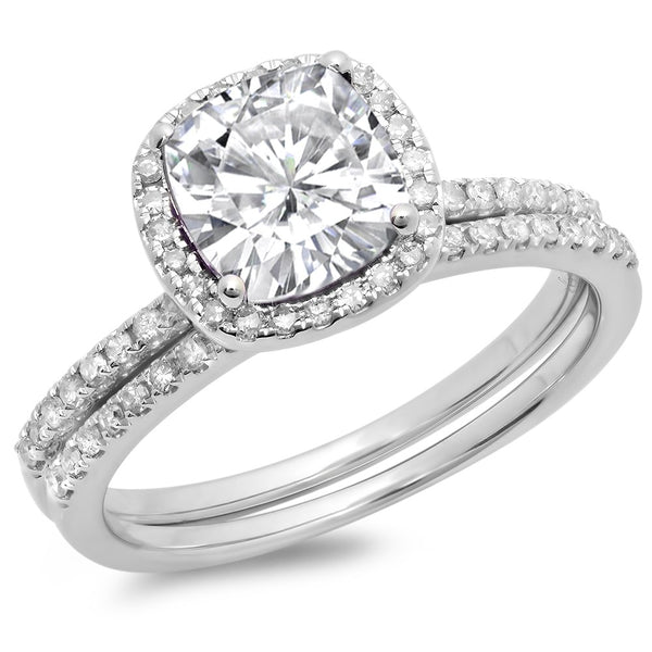 CERTIFIED   10K Gold Cushion Created White Sapphire & Round White Diamond Bridal Halo Engagement Ring Set