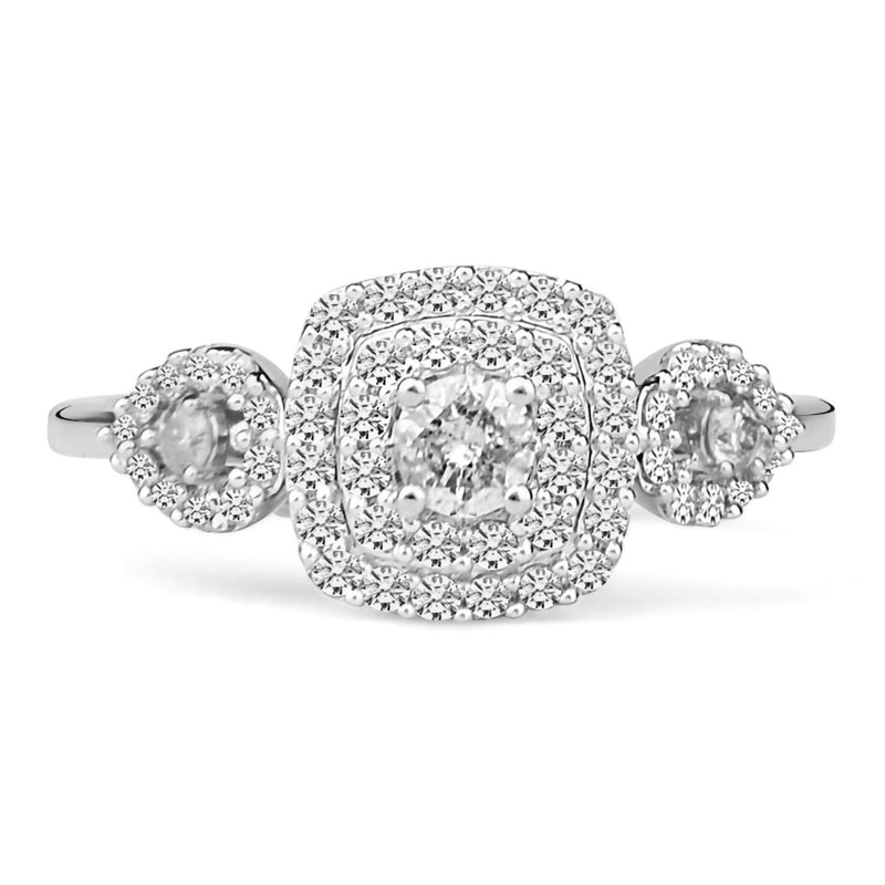 14k White Gold Women Bridal Set Rings 0.75 cttw Round Single Cut Diamond Prong Setting IGI Certified (I1-I2 Clarity, G-H Color)