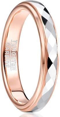 CERTIFED 4mm Tungsten Wedding Ring Faceted Finish Rose Gold