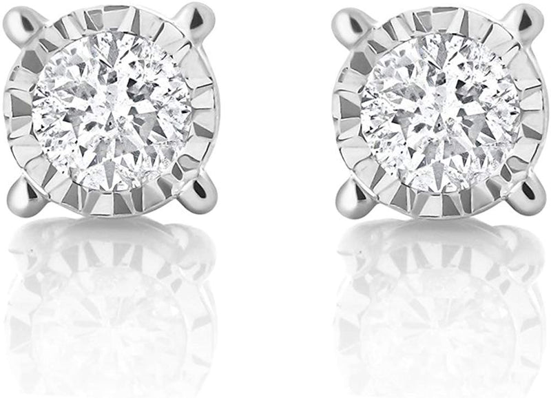 IGI Certified 0.20 Cttw 10k White Gold Diamond Illusion Set Stud Earrings (I-J Color, I2-I3 Clarity)