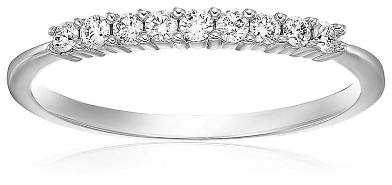 AGS CERTIFIED 1/5 cttw Certified Petite Diamond Wedding Band in 14K White Gold Near Colorless (H-I)