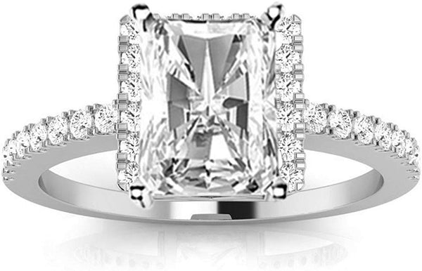 1.05 Carat GIA Certified Radiant Cut 14K White Gold Square Halo Style Single Row Diamond Engagement Ring (D-E Color SI1-SI2 Clarity Center Stones)