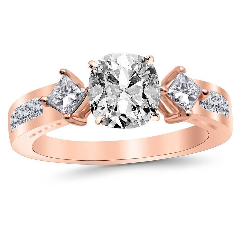 1.71 Carat 14K White Gold Channel Set 3 Three Stone Princess GIA Certified Diamond Engagement Ring Cushion Cut (0.96 Ct E Color SI2 Clarity Center Stone)