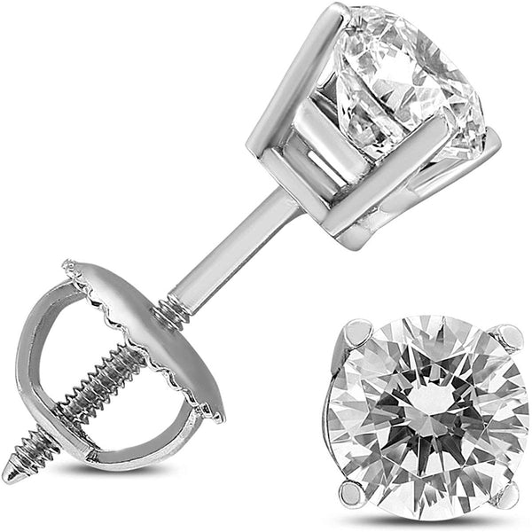 AGS Certified 1/2 Carat TW  Round Diamond Solitaire Stud Earrings in 14K White Gold with Screw Backs