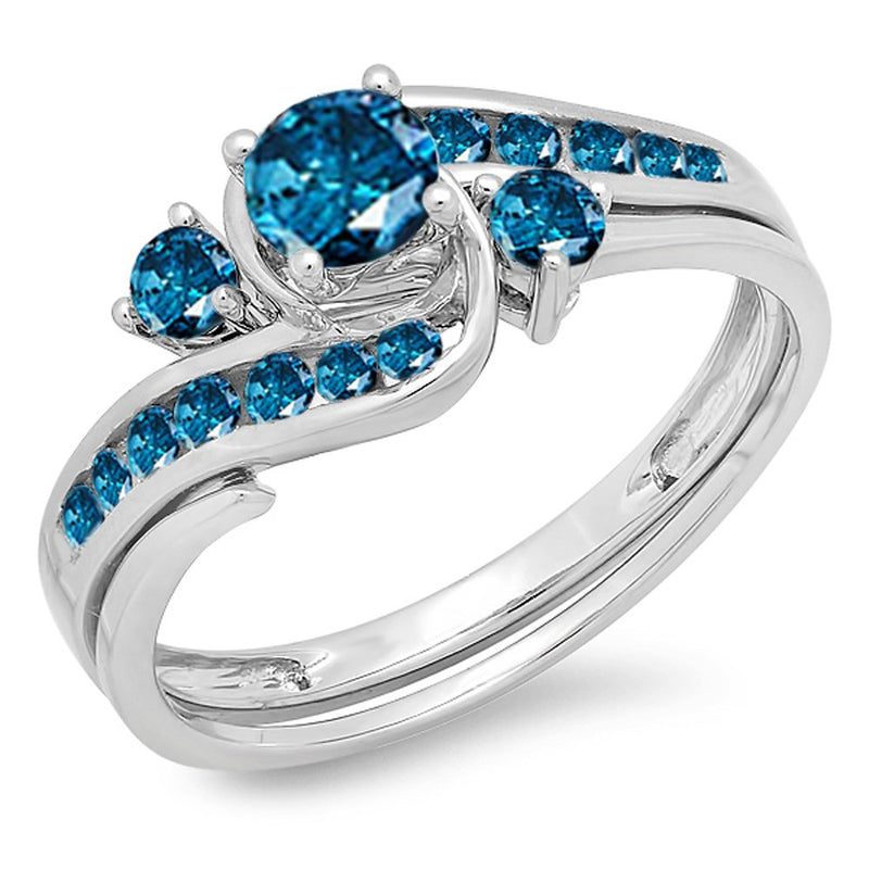 CERTIFIED   0.90 Carat (ctw) 10k Round Blue Diamond Ladies Swirl Bridal Engagement Ring Matching Band Set, White Gold