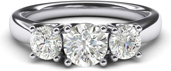 CERTIFIED 2.0ctw  Sterling Silver Three Stone Simulated Diamond Promise Engagement Ring