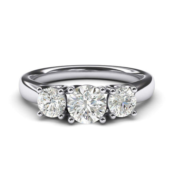 CERTIFIED 3.50 Carats Solid Sterling Silver Three Stone Simulated Diamond Ring Promise Engagement Ring