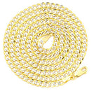reamra CERTIFIED Mr. Bling 14k Yellow Gold Solid Pave Curb Chain Necklace with White Gold Pave Diamond Cut w/Lobster Lock (3mm to 11mm)