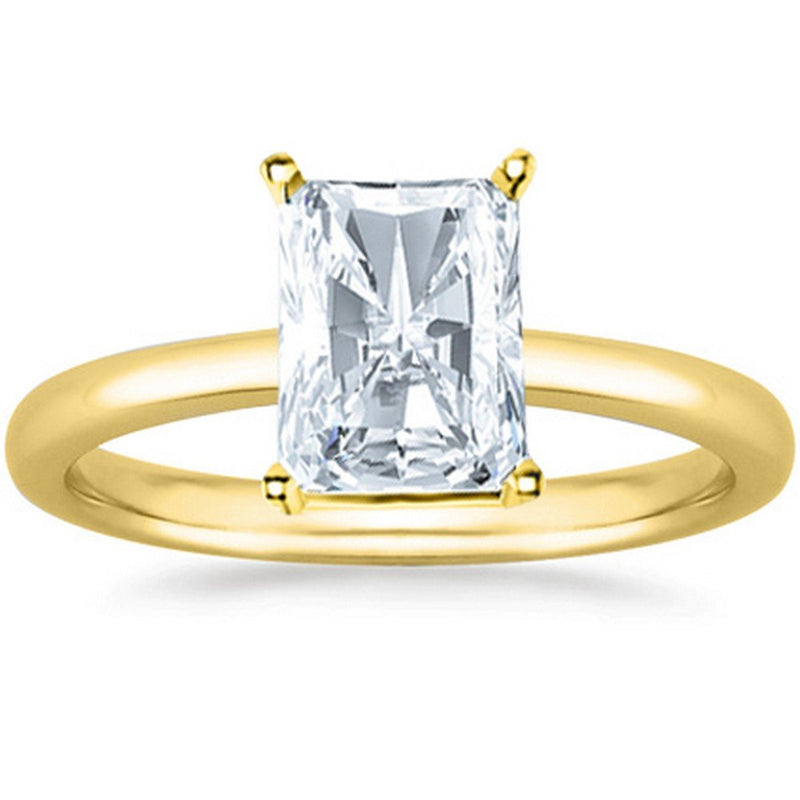 3 Ct GIA Certified Radiant Cut Solitaire Diamond Engagement Ring 14K White Gold (K Color SI2 Clarity)