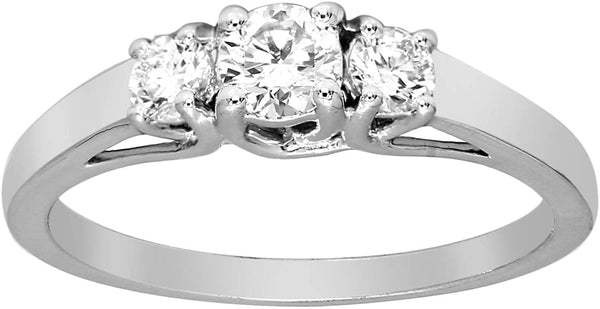 CERTIFIED 0.53 cttw Three stone Bezel Cut,  Lab Grown Diamond Engagement Rings