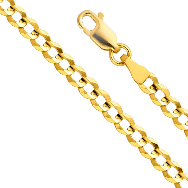 CERTIFIED 14k Yellow Gold Solid Men's 4.5mm Cuban Curb Chain Necklace with Lobster Claw Clasp