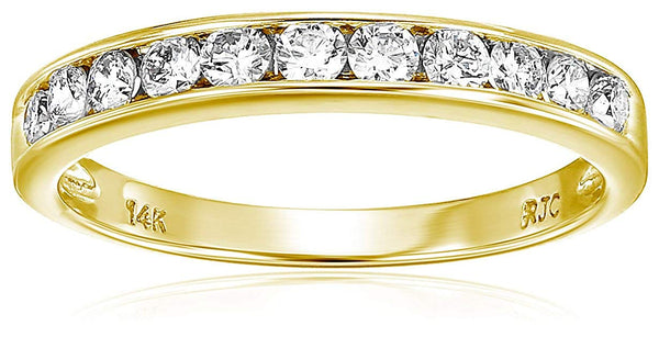 CERTIFIED 1/2 cttw Classic Diamond Wedding Band in 14K Gold Channel Set