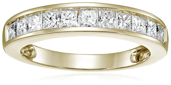 IGI | 1 CT Certified Princess Diamond Wedding Band in 14K Gold