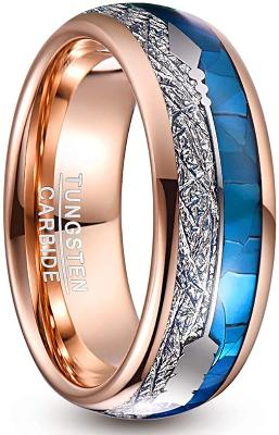 CERTIFIED 8mm Rose Gold Arrow Tungsten Carbide Blue Shell Imitated Meteorite Inlay