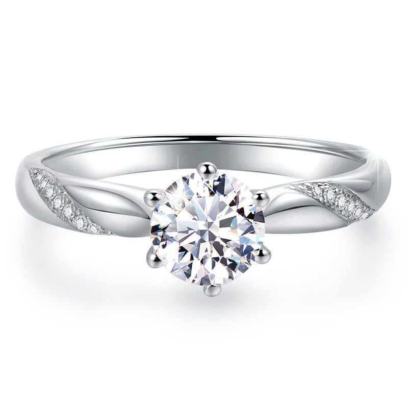 CERTIFIED Solitaire Engagement Sterling Silver Cubic Zirconia Wedding Ring