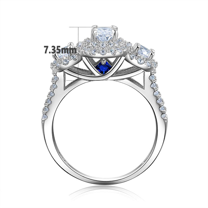 CERTIFIED 1.8Ct Oval Three Stone Blue 925 Sterling Silver Wedding Engagement Ring Set