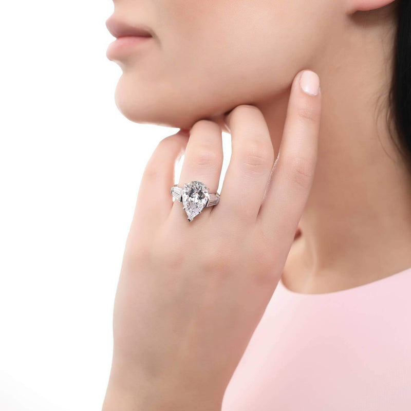 Rhodium Plated Sterling Silver Pear Cut Cubic Zirconia CZ Statement 3-Stone Anniversary Engagement Ring 8.85 CTW
