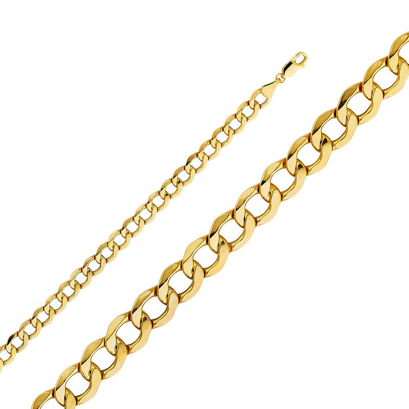 reamra CERTIFIED Wellingsale 14k Yellow Gold 6.5mm Polished HOLLOW Cuban Concaved Curb Chain Necklace