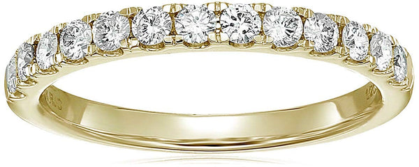CERTIFIED 1/2 cttw Prong Set Diamond Wedding Band in 14K Gold Near Colorless
