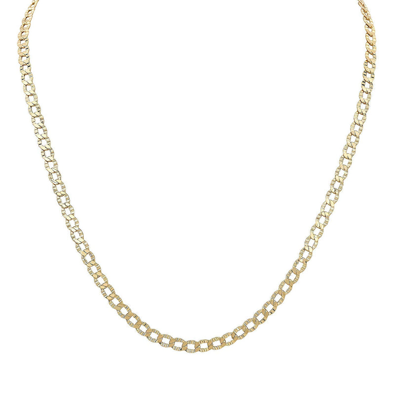 "reamra CERTIFIED 14k Yellow Gold Textured 20"" Curb Chain Necklace"