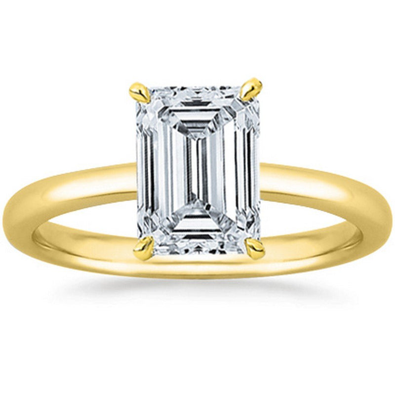 GIA | Certified Emerald Cut Solitaire Diamond Engagement Ring 14K Gold