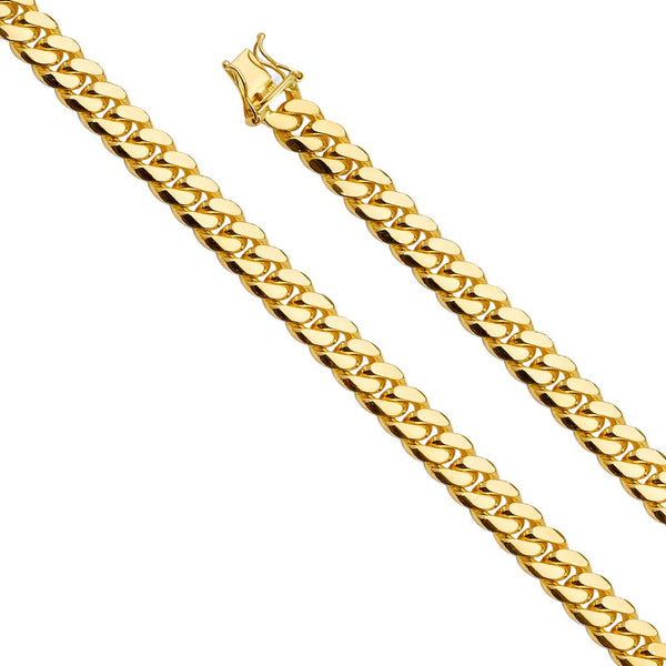 CERTIFIED Wellingsale 14k Yellow Gold SOLID 8mm Polished Miami Cuban Concaved Curb Chain Necklace