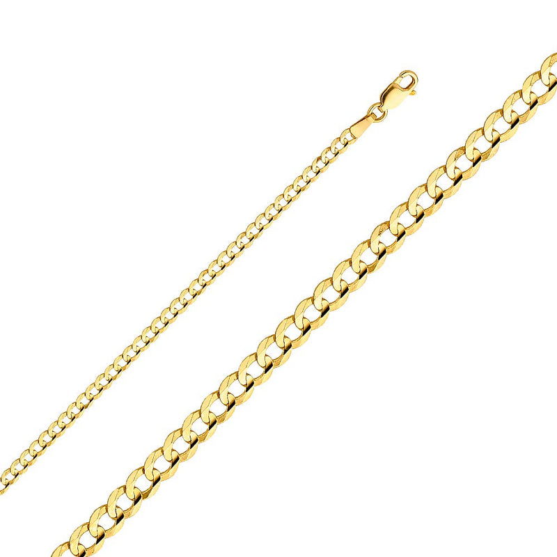 CERTIFIED Wellingsale 14k Yellow Gold SOLID 3.2mm Polished Cuban Concaved Curb Chain Necklace with Lobster Claw Clasp