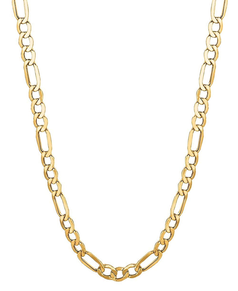 reamra CERTIFIED 14Kt Solid Yellow Gold Classic Figaro Lite Curb Link Chain/Necklace 5.4 Mm (Lfig120