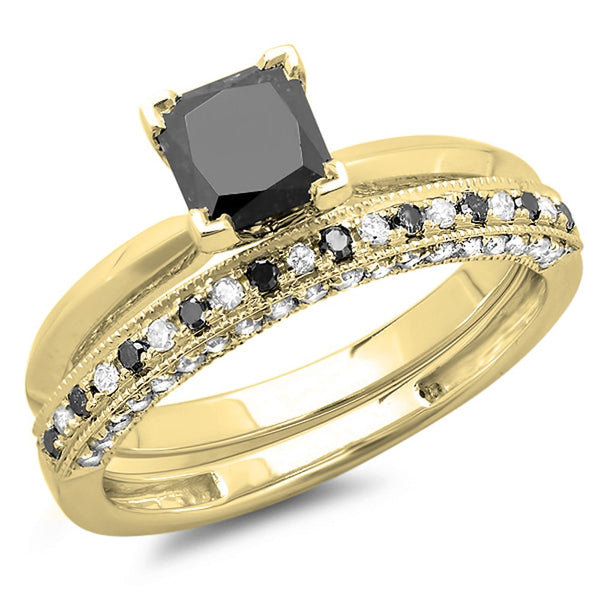 CERTIFIED 1.50 (ctw) 10K Gold Princess Black & Round Diamond Bridal Engagement Set