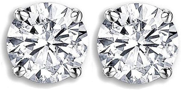 IGI Certified   0.98 Carat (ctw) 14K Round Cut White Diamond Ladies Stud Earrings, White Gold