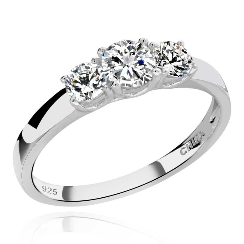 CERTIFIED 925 Sterling Silver Cubic Zirconia 3-Stone Ring Wedding CZ Bridal Ring
