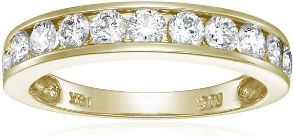 CERTIFIED 1 cttw Diamond Wedding Band 14K Gold Channel I1-I2