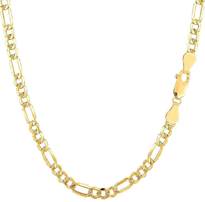 CERTIFIED 3.5mm 14K Yellow Gold Diamond-Cut Alternate Classic Hollow Figaro Chain