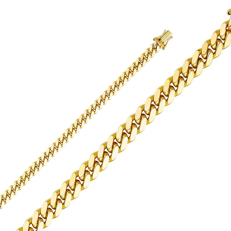 CERTIFIED Wellingsale 14k Yellow Gold SOLID 5.5mm Polished Miami Cuban Concaved Curb Chain Necklace