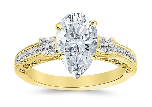 1.5 Ctw 14K White Gold Three 3 Stone Princess Cut Channel Set Pear Cut GIA Certified Diamond Engagement Ring (1 Ct H Color SI1 Clarity Center Stone)