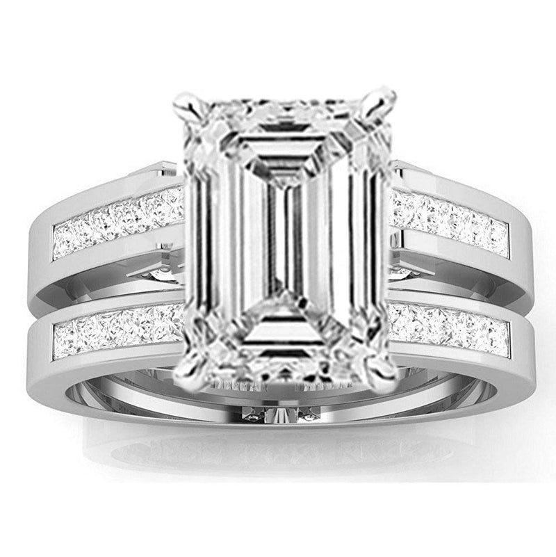 2.5 Ctw 14K White Gold Channel Princess Cut GIA Certified Diamond Engagement Ring Bridal Set Emerald Shape (2 Ct H Color VS2 Clarity Center Stone)