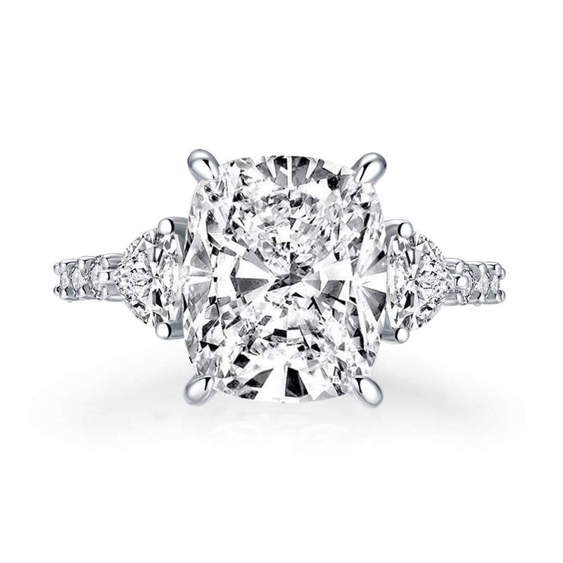 CERTIFIED 6ct CZ Engagement Rings 925 Silver Round Cubic Zirconia Engagement Rings, 3-stone ring