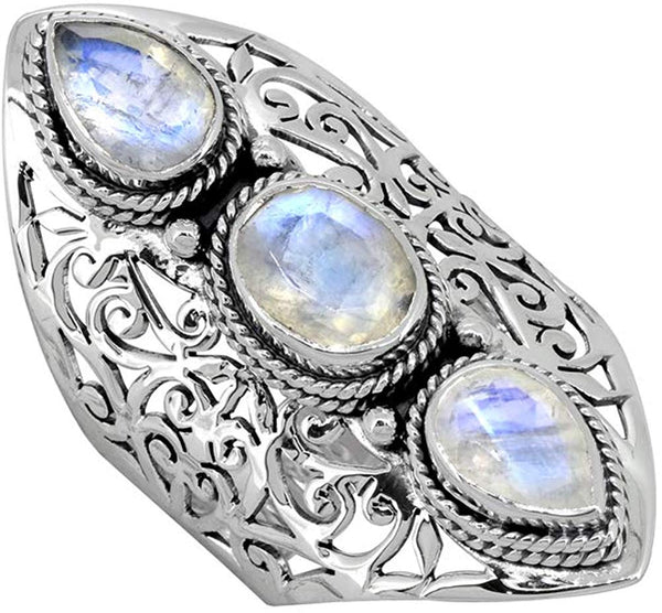Moonstone Solid 925 Sterling Silver 3 Stone Ring