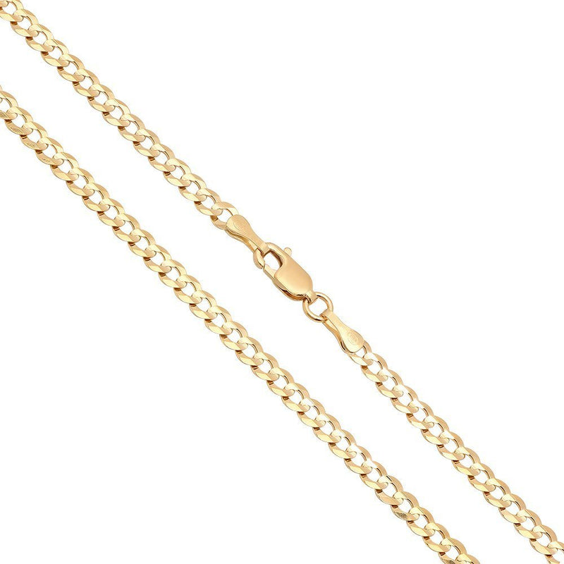CERTIFIED 3mm 14K Solid Yellow Gold Cuban Curb Link Chain Necklace